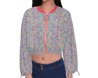Women's Cropped Chiffon Jacket Spotty