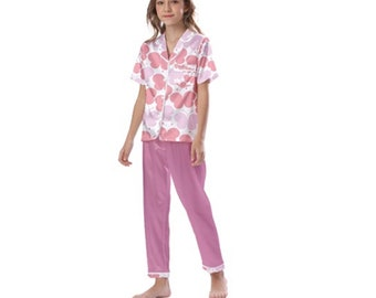 Kid's Satin Short Sleeve Pajamas pink