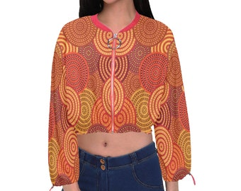 Women's Cropped Chiffon Jacket Tangerine