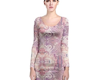 Women's Long Sleeve Bodycon Dress Pink Marble