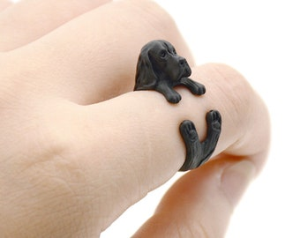 Basset Hound Black Adjustable Ring