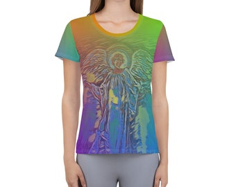All-Over Print Women's Athletic T-shirt Guardian Angel