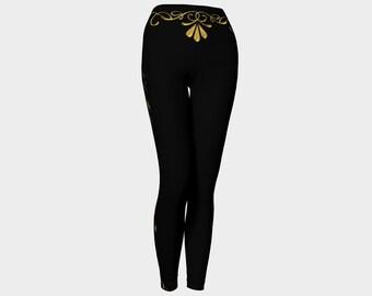 Women's Yoga Leggings Black Gold
