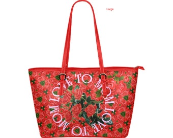 Roses For Mom Leather Tote Bags