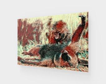 Grooming Baboons Acrylic Art