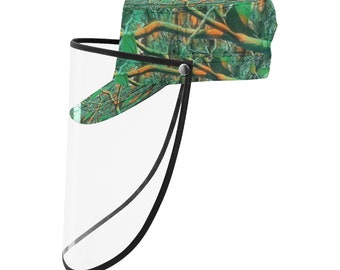 military Cap With Face Shield Green Timber