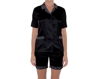 Women's Black Satin Pajama Short Set