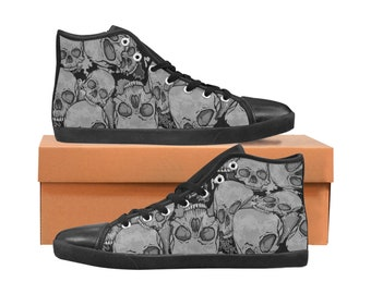 Men's Canvas Hi Top Sneakers Skulls