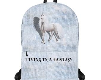 Backpack Unicorn Fantasy Vintage Denim Wash