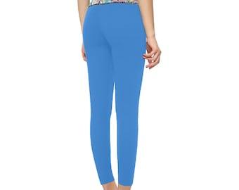 Women's High Rise Yoga Leggings Blue Floral