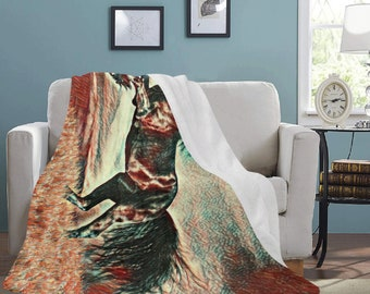 Micro Fleece Ultra Soft Stallion Print Blankets
