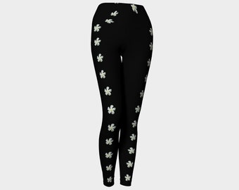 White Flowers Yoga Leggings