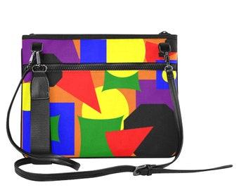 Ladies Slim Clutch Bag Abstract Colors