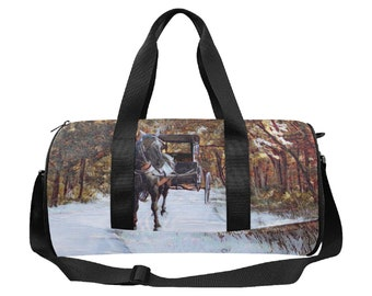 Duffel Bag Horse And Buggy Print