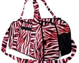 Duffel Gym Bag Pink Zebra Print