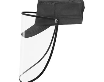 Military Cap With Face Shield Charcoal