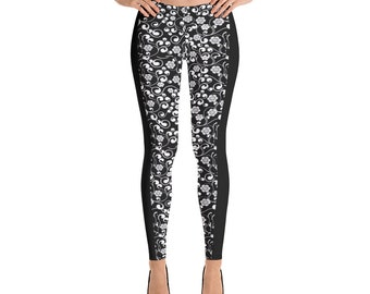 Woman's Leggings Black Floral