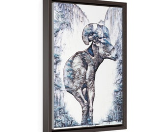 Vertical Framed Premium Gallery Wrap Canvas Ram Mountain