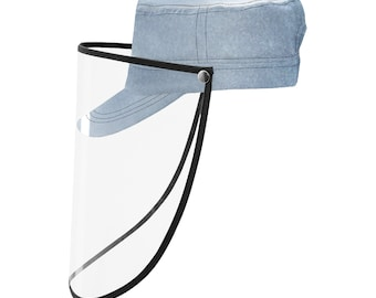 Military Cap With Face Shield Denim Wash Blue