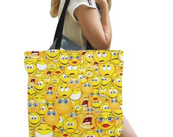 Canvas Tote Bags Emoticons Three Sizes