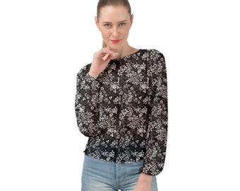 Women's Banded Chiffon Top Black Floral