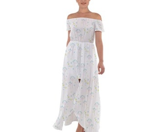 Chiffon Dress Open Front Off Shoulder