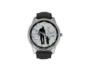 Men's Leather Strap Large Dial Watch father and son