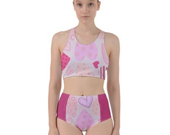 Women's Racerback Swim Set Pink Hearts