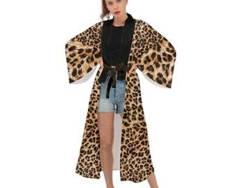 Women's Long Sleeve Kimono Leopard