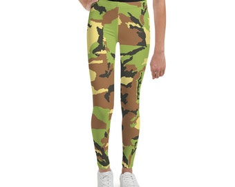 Youth Leggings Green Camouflage