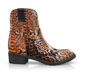 Women's Western Ankle Boots Snakeskin Print