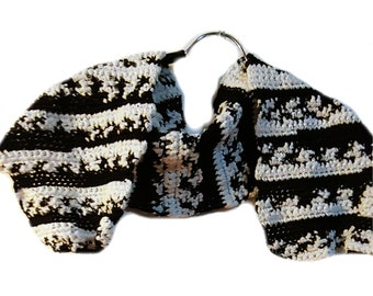 Crochet Black And White Scarf