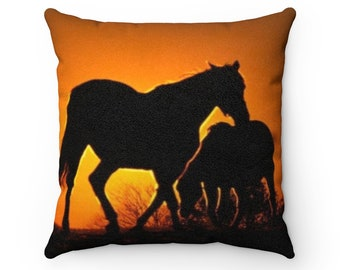 Faux Suede Square Pillow Sunset Horses