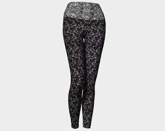 Black Lace Pattern Yoga Leggings
