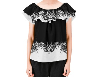 Women's Off Shoulder Ruffle Blouse black