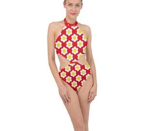 Women's Sidecut Halter Swimsuit Red Floral