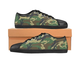 Kid's Canvas Shoes Green Camouflage