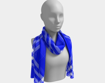 Ocean Blue Plaid Long Scarf