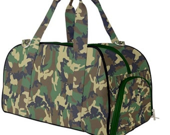 Duffel Gym Bag Green Camouflage Print