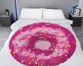 Microfleece Round Throw Blanket donut