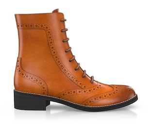 Women's Brogue Leather Lace Up Ankle Boots