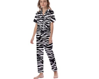 Kid's Satin Short Sleeve Pajamas zebra