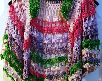 Crocheted Colorful Shoulder Shawl