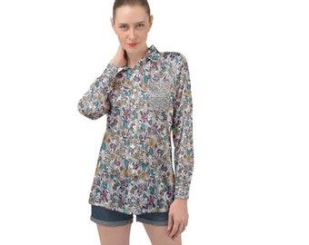 Women's Long Sleeve Satin Shirt Floral Color