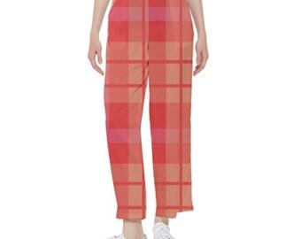 Women's Pants Red Plaid