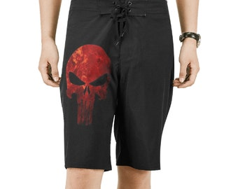 Men's Red Skull Board Shorts