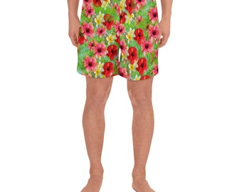 Men's Athletic Long Shorts Hawaii Floral Print