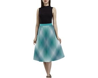 Women's Turquoise Plaid Crepe Skirt