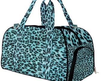 Duffel Gym Bag Blue Leopard Print