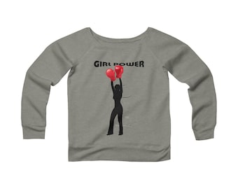 WomenS Sponge Fleece Wide Neck Sweatshirt Girl Power